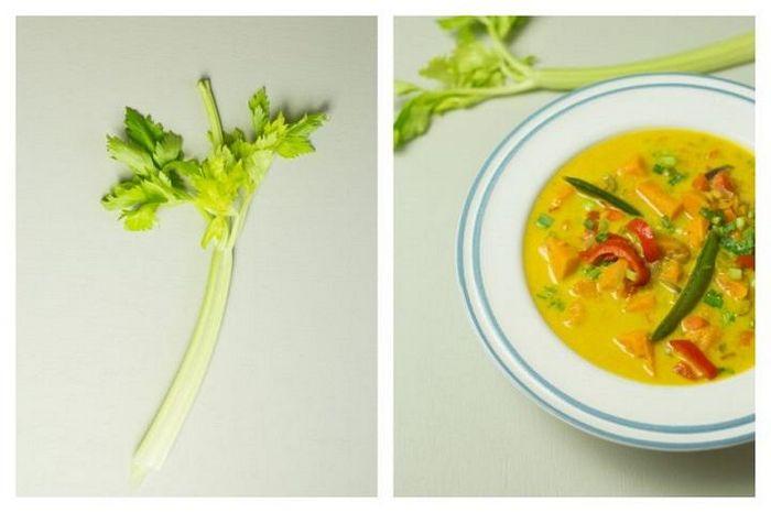 Свекольный суп с кокосовым молоком и стручковой фасолью