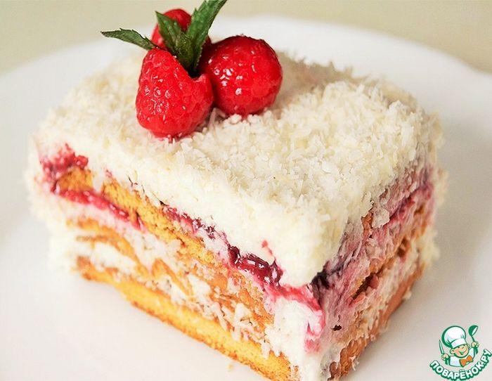 Торт с малиной и кокосовым муссом